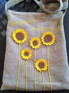 sunflowers and happiness - - sunflowers and happiness filovagando creations – Crochet Sonnenblumen und Glück Crochet Cushion Cover, Crochet Cushions, Crochet Pillow, Crochet Hooks, Knit Crochet, Embroidery Bags, Hand Embroidery Designs, Scrap Quilt, Sewing Crafts