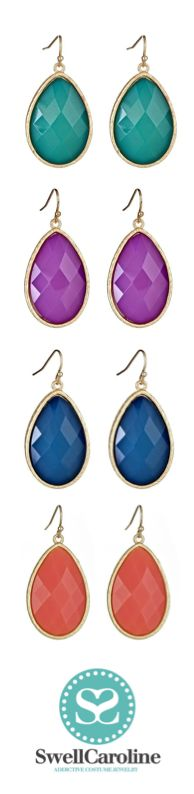 Teardrop Earrings in every color!  #SwellCaroline #TeardropEarrings