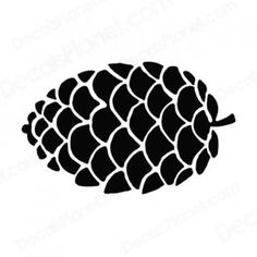 black and white pine cone images | Pine cone silhouette plants decals, decal sticker #15401