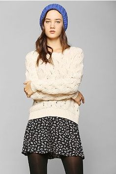 Blue Beanie, White Cable Knit Sweater, Polka-dot Skirt & Black Tights