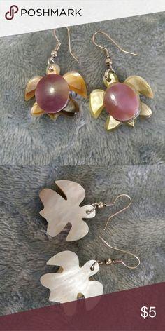 Hamdmade sea turtle earrings Handmade beautifully crafted. Cream and purple sea turtle. Barely worn. Jewelry Earrings