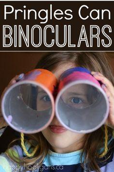 Pringles Can Binoculars - easy, inexpensive preschool craft. Great for pretend play, scavenger hunts, I Spy etc. Easy Crafts For Kids Fun, Fun Arts And Crafts, Fun Activities For Kids, Projects For Kids, Diy For Kids, Cool Kids, Kids Crafts, Preschool Activities, Happy Hooligans