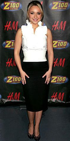 Look of the Day › December 18, 2007 Panettiere paired a ruffled top with an Escada skirt; she finished the look with Ippolita earrings and a ring from Tito Pedrini.