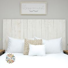 Handmade headboards like ours are the perfect piece of rustic furniture for Americana-styled rooms. Our Whitewash Weathered Headboard is available in both hanger and leaner styles. Floating Headboard, White Headboard, Wood Headboard, Handmade Headboards, White Wash Walls, Tropical Bedrooms, Cool Diy Projects, Industrial Chic, Rustic Design