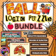 Want to improve your students higher-order thinking skills in a fun and creative way? Use these Fall logic puzzles to do just that! There are 15 logic puzzles included in this bundle. #TpT #TeacherGems #CriticalThinking