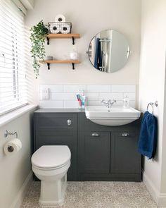 Space Saving Bathroom, Small Bathroom Layout, Attic Bathroom, Upstairs Bathrooms, Family Bathroom, Grey Bathrooms, Small Downstairs Toilet, Downstairs Cloakroom, Washroom