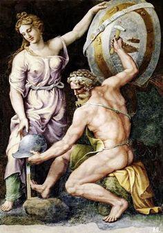 Vulcan forging the armor of Achilles. Guilo Romano. Italian. 1499-1546.  fresco.
