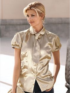 Blouse Sexy, Blouse Dress, Dress Skirt, Satin Top, Silk Satin, Suits For Women, Blouses For Women, Women Bow Tie, Satin Bluse