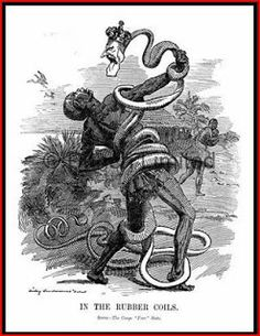 'In the Rubber Coils', a Punch cartoon of shows King Leopold's stranglehold on the Congo. The brutal treatment of the Congolese people by King Leopold eventually caught international attention and he was forced to abandon the country. Congo Belga, Nagasaki, Hiroshima, Congo Free State, King Leopold, Belgian Congo, African States, Nelson Mandela, African American History