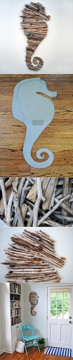How to make a driftwood seahorse DIY Tree Branch Seahorse, could do any shape Beach Crafts, Crafts To Do, Crafts For Kids, Arts And Crafts, Diy Projects To Try, Craft Projects, Craft Ideas, Decor Ideas, Driftwood Art