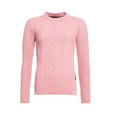 Superdry Cable Crew Jumper (18.535 HUF) ❤ liked on Polyvore featuring tops, sweaters, pink, sale, crew sweater, pink sweater, red crew neck sweater, red top and cable knit crew neck sweater