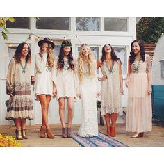 My type of Boho wedding. No matching, just fun, relaxed, and easy
