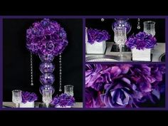 Passion Purple Passion Centerpiece / DIY / How to create the Passion Purple Centerpiece Pearl Wedding Centerpieces, Bling Centerpiece, Dollar Tree Centerpieces, Purple Wedding Centerpieces, Bridal Shower Centerpieces, Wedding Table Centerpieces, Diy Wedding Decorations, Fishbowl Centerpiece, Chandelier Centerpiece