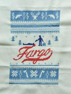 Fargo cross stitch by /u/FrauWattebausch