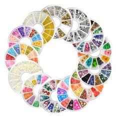 20 Pcs Wheel Assorted Nail Art Phone DIY Glitter Rhinestones Glitter Pearl Decoration Set Professional Makeup Brush Set