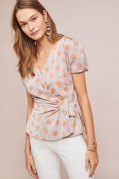 Sweetwater Top by Eva Franco in Orange Size: L, Women's Tops at Anthropologie Club Outfits For Women, Clothes For Women, Diy Fashion, Womens Fashion, Fashion Clothes, Spring Fashion, Luxury Fashion, Going Out Outfits, Front Tie Top