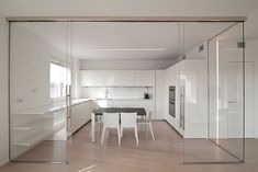 Curves And Glass - An Interior With Varying Partitions Condo Interior, Interior Design Kitchen, Kitchen Glass Doors, Sofa Set Designs, Modern House Plans, Home Decor Kitchen, White Furniture, Wood Flooring, Ideas