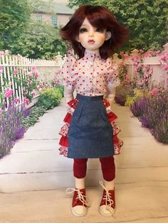 Ruffle Skirt and Blouse fits Dollmore Illua Mini Dahlia by weewardrobe on Etsy