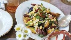 Roasted Fingerling Potatoes with Corn–Garlic Chive Vinaigrette