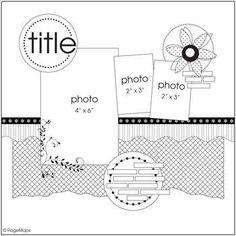 Scrapbook Templates, Scrapbook Sketches, Scrapbook Page Layouts, Card Sketches, Scrapbook Cards, Scrapbooking Ideas, Map Sketch, Page Maps, Photo Sketch