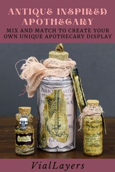 Mix and match to create your own unique apothecary-inspired miniature display. Visit VialLayers on Etsy for unique handmade decor. From decoupaged miniature coffin boxes, vintage-inspired potion bottles and collage art journals. Find the perfect one of a kind gifts for Christmas. Apothecary Bottles, Altered Bottles, Potion Bottle, Bottle Art, Decorative Bottles, Handmade Decorations, Art Journals, Mixed Media Art, Coffin