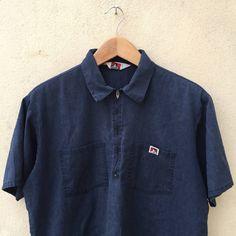 f6a34efdc4b0a Vintage Ben Davis Heather Navy Blue 1 2 Zip Shirt Workshirt Size US XL   EU  56   4 - 1