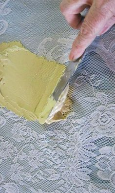 Use furniture icing and a piece of lace to make your wooden pieces look designer in a flash. (Wood Icing)