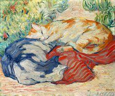 Franz Marc - Katzen auf rotem Tuch