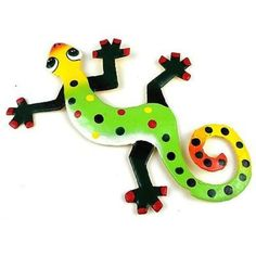 This gecko is handmade in Haiti from recycled oil drums. Each has a small hook to hang the piece, and is painted with a bright colorful design inspired by the local Haitian culture. From head to tail,