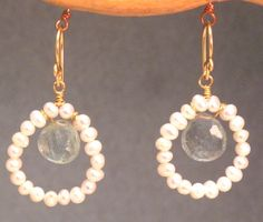 Ivory pearls and moss aquamarine, about 1-1/4 long    Available in 14k gold filled & sterling silver 14k rose gold filled    **We now offer