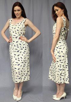 Vintage 40s 50s White PENCIL Dress MEDIUM Wiggle PinUp