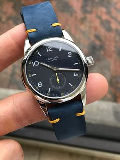 Customer shot of his Nomos Club on our Nubuck Blue with matching stitching.