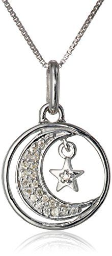 """Sterling Silver """"I Love You To the Moon and Back"""" Diamond-Accented (1/10 cttw, I-J Color, I2-I3 Clarity) Moon and Star Pendant Necklace, 18"""""""