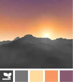 This palette mimics the gorgeous hues of a harvest sunset! The warmth of the orange and yellow is balanced with cool grey and purple Wise Taylor Scheme Color, Colour Pallette, Colour Schemes, Color Patterns, Color Combos, Design Seeds, Color Swatches, Paint Swatches, Colour Board