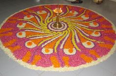 Flower Rangoli Pictures, Best Onam Pookalam Designs