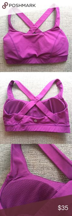 Lululemon Bra with Support and Liners Perfect condition. No sign of damage. Padded liners for extra coverage and medium to high support. The liners can be removed. Super pretty magenta/purple color. lululemon athletica Intimates & Sleepwear Bras
