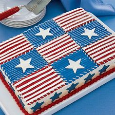Easy Quilt Cake - Our showstopping Fourth of July quilt cake only looks complicated: You start with a mix and then use packaged frosting to decorate. Fourth Of July Cakes, 4th Of July Desserts, Fourth Of July Food, 4th Of July Party, July 4th, Patriotic Party, Patriotic Desserts, Quilted Cake, Blue Desserts