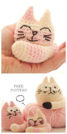 Crochet Fat Cat Amigurumi Free Patterns Source by DIYDailyMag Crochet Gratis, Cute Crochet, Crochet For Kids, Crochet Dolls, Crochet Baby, Crochet Animal Patterns, Stuffed Animal Patterns, Knitting Patterns, Stuffed Animals