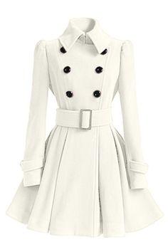 Chic Women's Belt Long Sleeve Winter Coat Dress