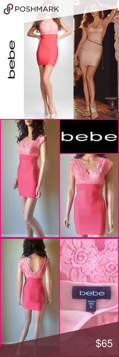 BEBE Lace Twofer Bandage Dress ASO Irina Shayk This is in like new condition. I bought it from another Posher who only wore it once for a photo shoot. The size tag says S but the size runs much smaller so it would best fit a Sz XS. I'm not sure if this was tailored to fit much a smaller size. Price is firm as I'm trying to make my money back since I couldn't wear it. Color is two shades of pink, Geranium. Same style as seen on supermodel Irina Shayk. bebe Dresses Mini