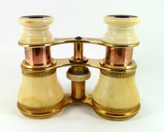 Antique Victorian Ivory And Gilt Opera Glasses With Tortoiseshell Eye Pieces, Made By Highly Acclaimed Makers Lloyd & Fraser   c. 1860