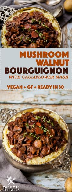 DELICIOUS + HEARTY Vegan Mushroom Walnut Bourguignon on a bed of fluffy Cauliflower Mash Quick easy + Gluten-free Perfect for winter nights and holiday meals Whole Food Recipes, Cooking Recipes, Healthy Recipes, Free Recipes, Quick Vegan Recipes, Gluten Free Vegetarian Recipes, Paleo, Simple Recipes, Fun Cooking
