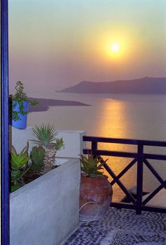 Sunset view from a Veranda in Cyclades, Greece