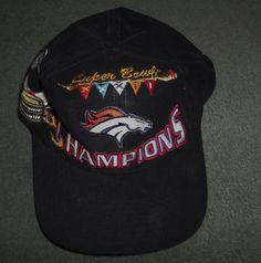 Men's Black, Red DENVER BRONCOS NFL SUPER BOWL XXXII Champs Hat, Snap Strap, GUC #LogoAthelticsNFLOfficialProduct #DenverBroncos