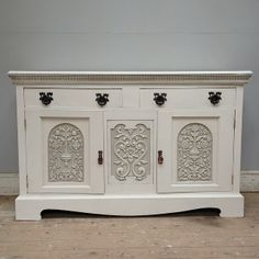 Beautifully carved old English Sideboard / painted furniture / Frenchfinds.co.uk