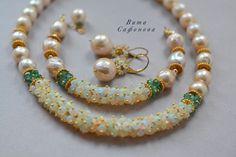 """Купить Колье """"Лагуна"""" - бежевый, жемчуг, жемчуг натуральный, жемчужное ожерелье, жемчужное колье"""