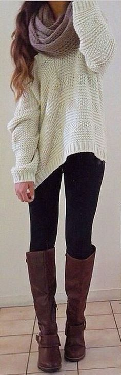 Comfy and casual winter outfit with leggings 38