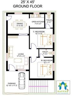 Vastu Complaint 2 Bedroom (BHK) Floor plan for a feet Plot Sq ft plot area). Check out for more 3 BHK floor plans and get customized floor plans for various plot sizes 10 Marla House Plan, 2bhk House Plan, Model House Plan, Simple House Plans, House Layout Plans, Duplex House Plans, House Layouts, Modern House Floor Plans, Small Floor Plans