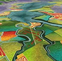 Fields of Salt map art quilt by LInda Gass. Although the landscape in this artwork may look like farm fields, it is actually salt ponds used for industrial salt production. These ponds used to be essential wetlands of San Francisco Bay. Map Quilt, Quilt Art, Art Quilting, Machine Quilting, Quilting Ideas, Quilt Patterns, Landscape Arquitecture, Landscape Art Quilts, Landscape Paintings