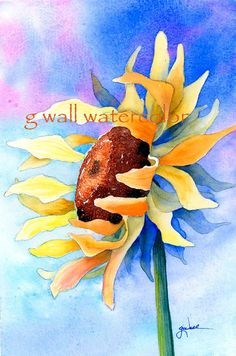 Matted PRINT Sunflower by Ginny Wall by AllNatureSings on Etsy, $15.00